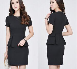 quality design 31498 bd928 Dettagli su Elegante Tailleur completo nero donna maglia top manica corta,  gonna 7044