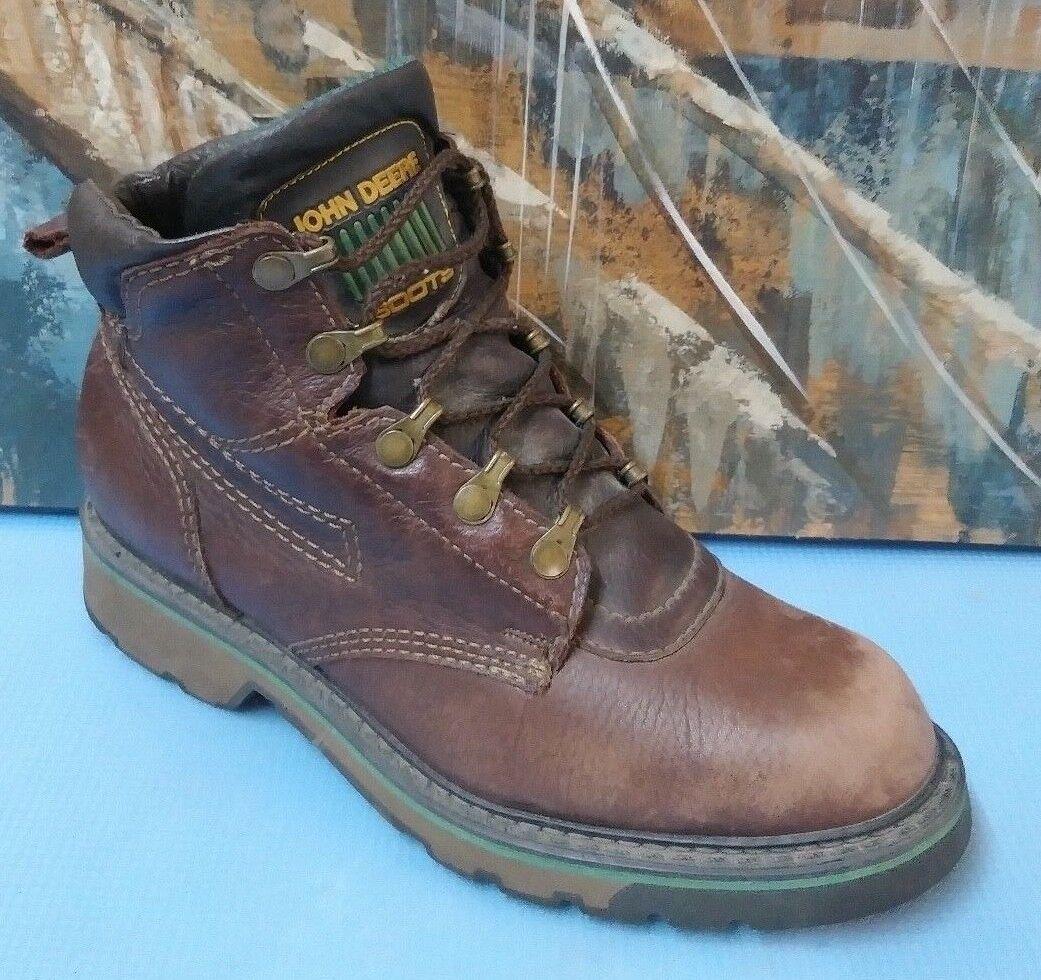 Mens marron Leather John Deere LaceUp  bottes chemical acid resistant soles 7 M