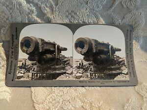 ANTIQUE-STEREOVIEW-PHOTO-CARD-A-RUSSIAN-GUN-DISMANTLED-BY-IMPLEMENTS-OF-WAR