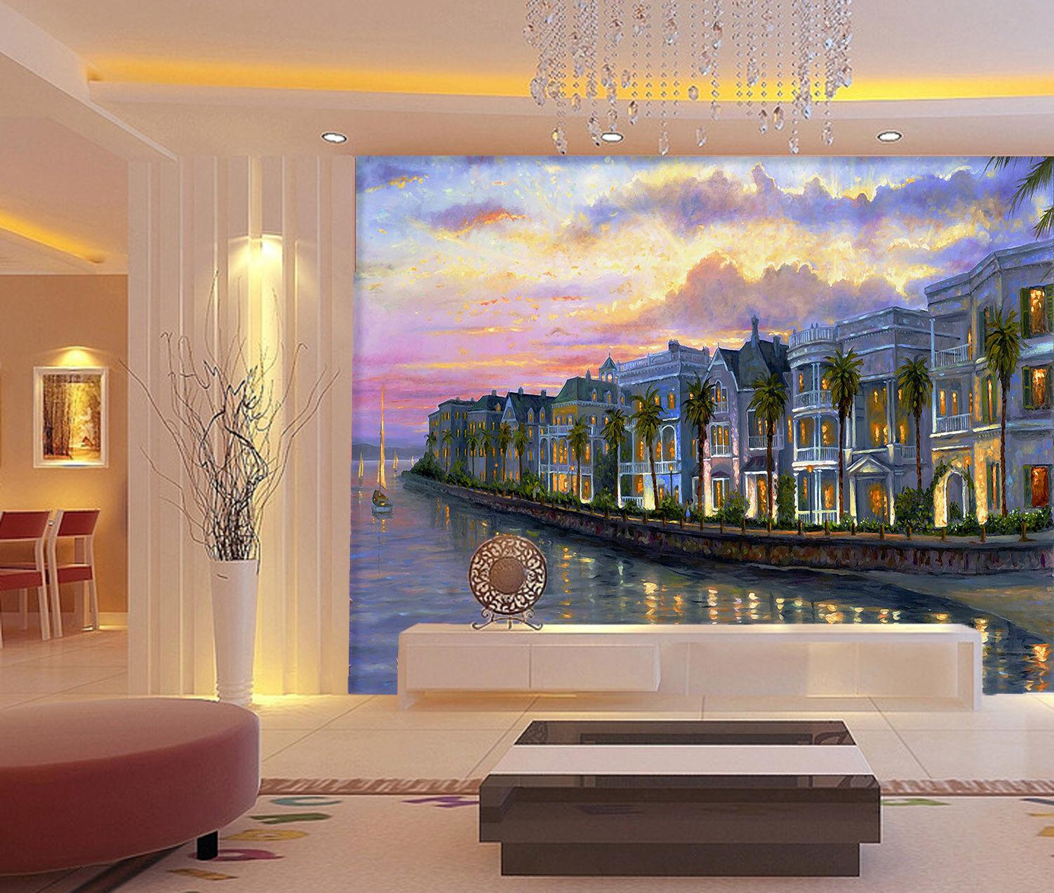 3D Seaside Stadt Ölgemälde 73 Tapete Wandgemälde Tapete Tapeten Bild Familie DE