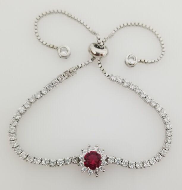 925 Sterling Silver Red Ruby & Round White Diamond StonesTennis Bracelet
