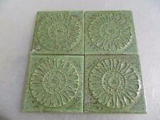 "Retro Ceramic Tile Tiles x4 Green Late Vintage Floral Beading -- each tile 3""W/H"