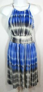MAGGY-LONDON-Size-8-Blue-Gray-White-High-Neck-A-Line-Midi-Knit-Dress
