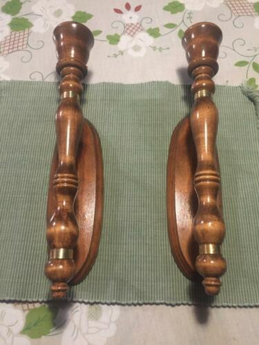 VTG Lot of 2 Walnut Finished Wood Turned Candlestick Wall Sconce Holder Wedding