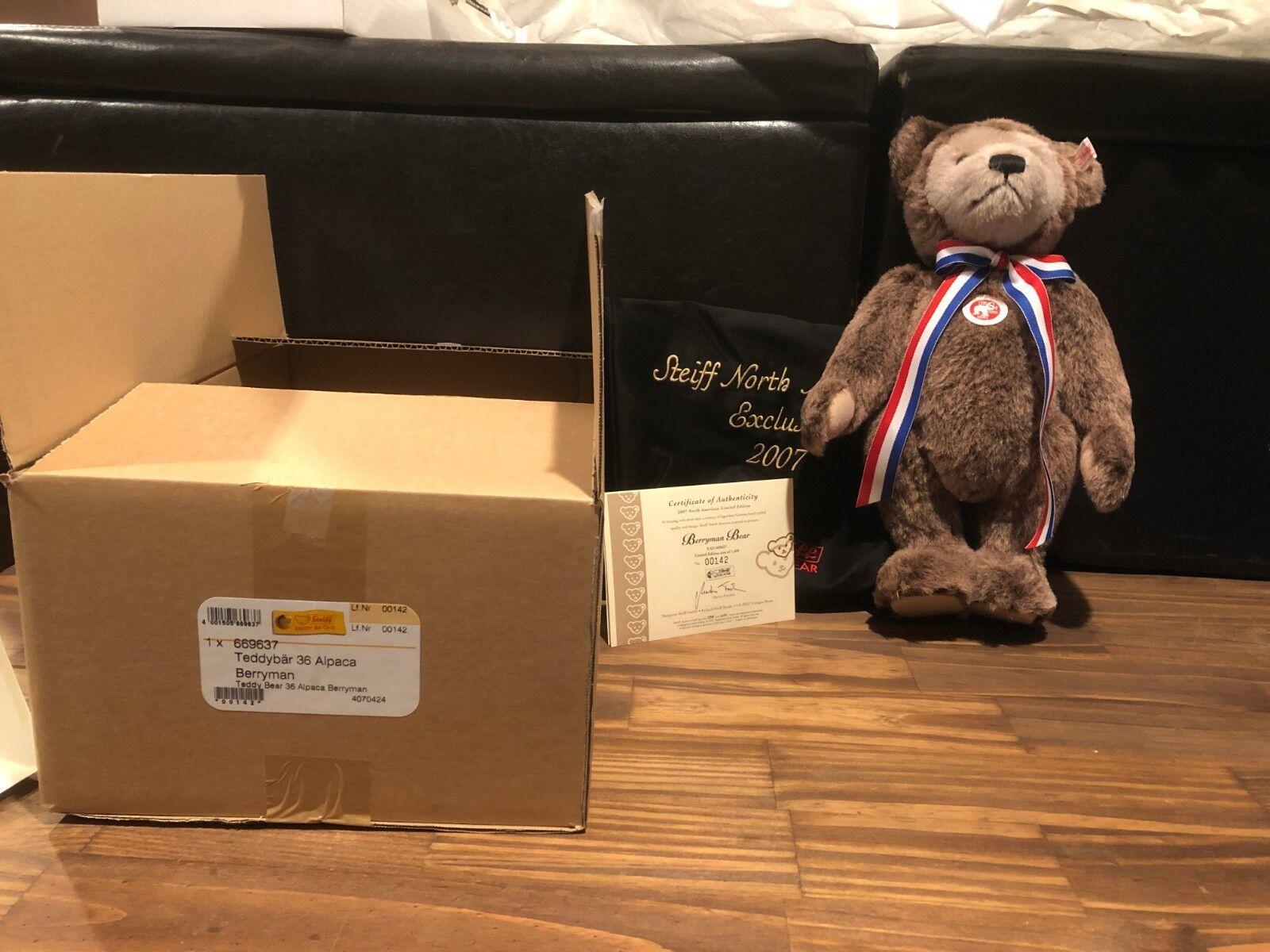 Steiff Berryman Bear 2007 669637 14  North American Edition NIB W COA and Tasche