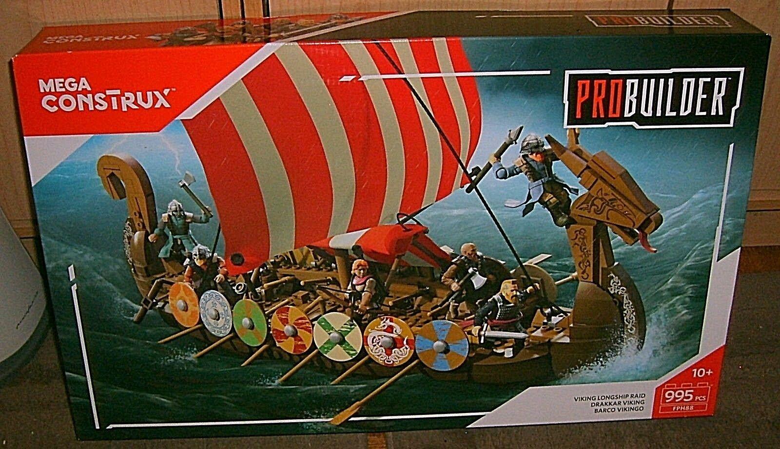 Mega Mega Mega Construx Probuilder Viking Longship Raid 995pcs NIB 621199