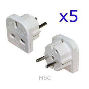 5 X European Travel Adapter Plug 3 Pin To 2 Pin Free Uk