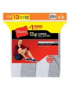 Includes 2 Free Bonus Pairs 26 Hanes Men/'s Cushion No-Show Socks 190V13