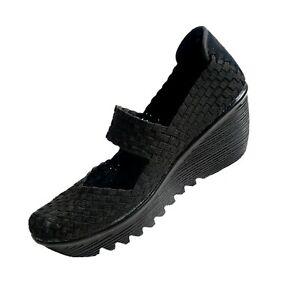 Bernie-Mev-39-Woven-Shoes-Wedge-Platform-High-Heel-CloseToe-Sandal-Slip-On-Black