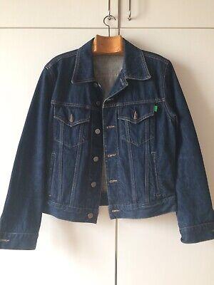 Audace Benetton Unisex Vintage Giubbino Giacca In Jeans Blu Scuro Taglia S/m