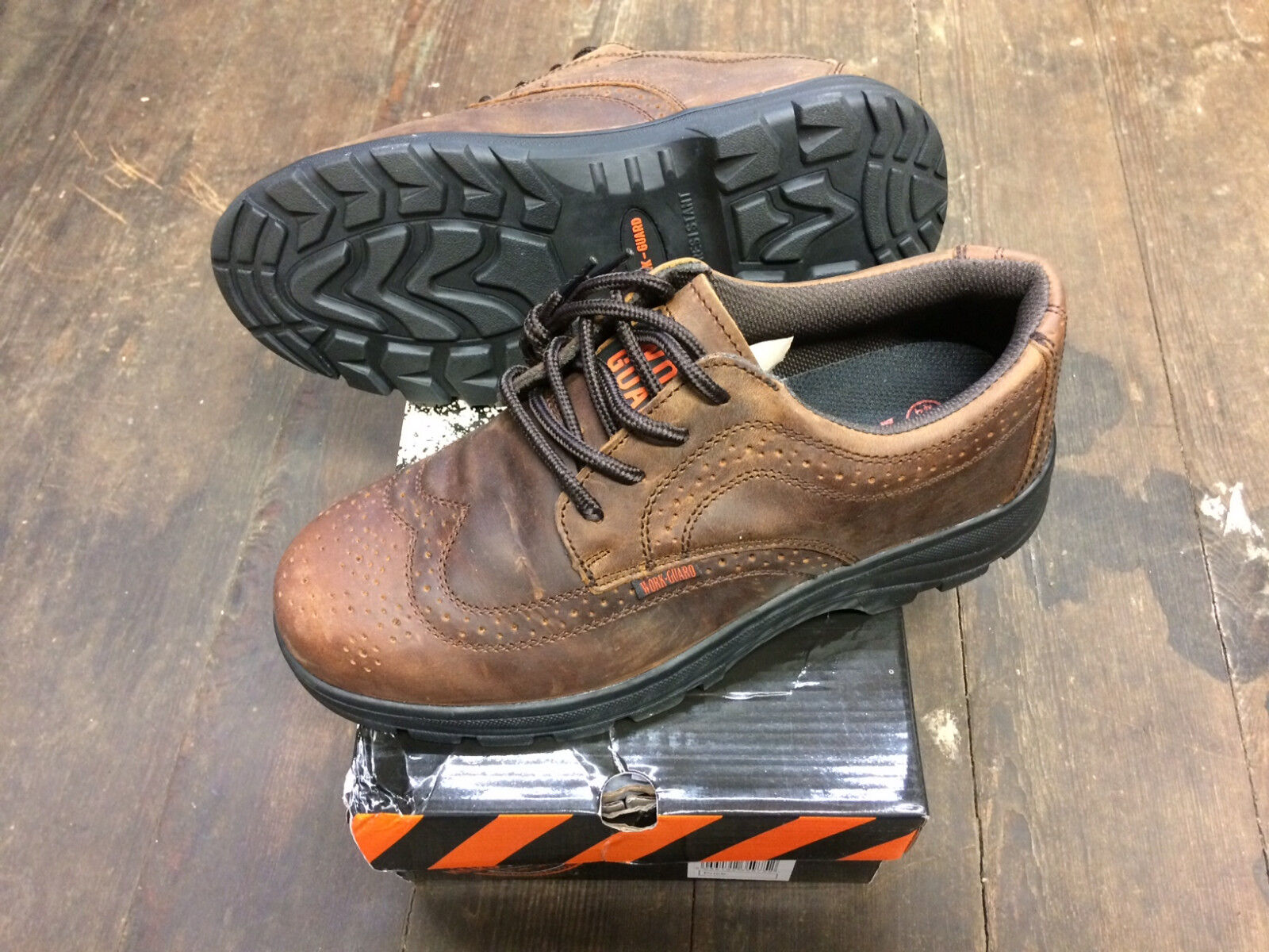 Size Result Work Guard R345X Brown Leather Brogue Safety shoes New