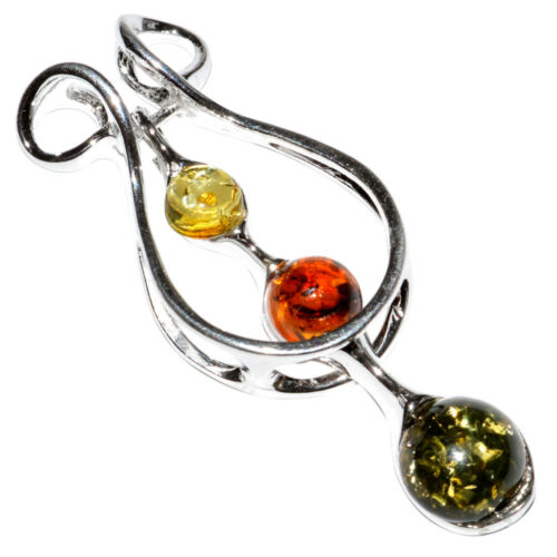 4.0g Authentic Baltic Amber 925 Sterling Silver Pendant Jewelry N-A438A