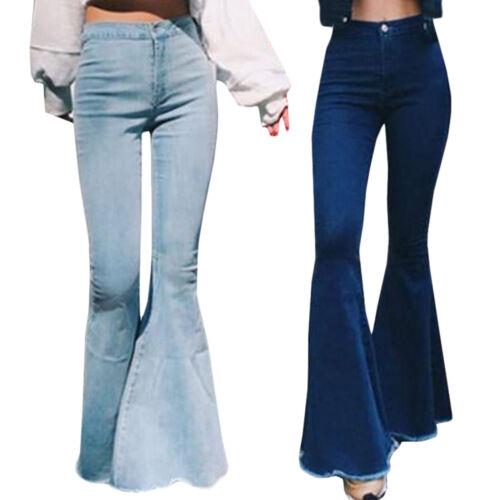 Damen Bootcut Denim Jeanshose High Waist Schlaghose Weites Bein Schlag Jeans 44
