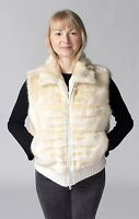 Oyster Bleached Beaver Fur With Sheared Grooving Zip Vest W/ Knit Trim - Sale