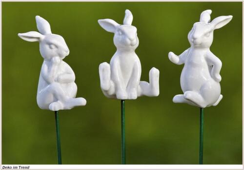Osterhasen 3er Set mit Gartenstab  3er Set Hasen
