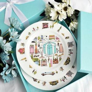 Tiffany-amp-Co-Dessert-Plate-5TH-Avenue-New-York-Bone-China-2-Pcs-Japan-Tracking