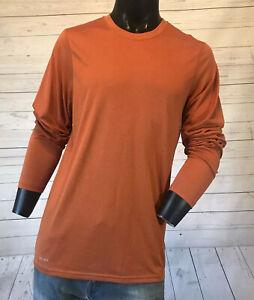 Nike-Mens-Shirt-Dri-Fit-Long-Sleeve-Athletic-Orange-Size-S-Small