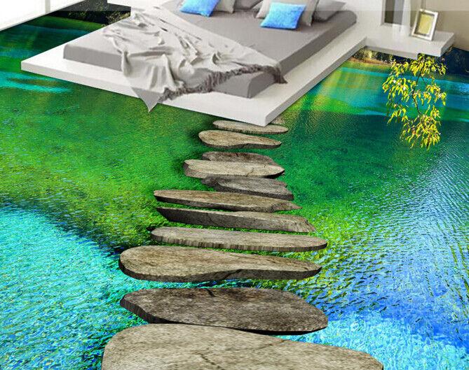 3D Green Stone Lake 5 Floor WallPaper Murals Wall Print 5D AJ WALLPAPER UK Lemon