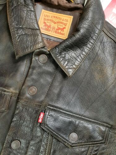 e Capital S Leather Brown Big Jacket Levis Buffalo Trucker £599 New Lvc 6BxT4X