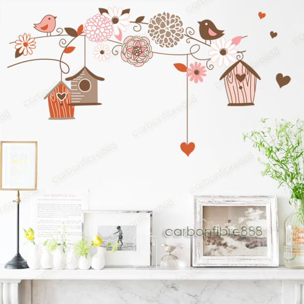 Bird Cage Flower Wall Stickers Mural Wallpaper Decor Home Art Decal Vinyl