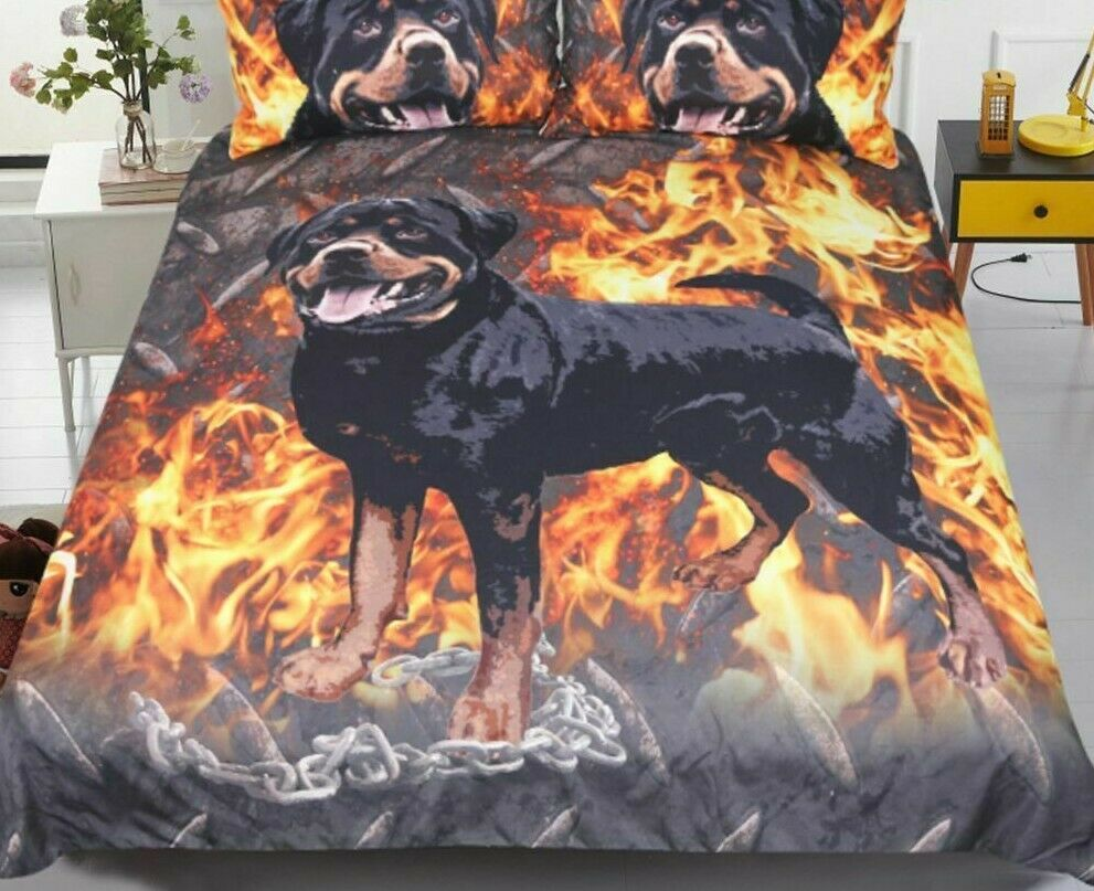 Bedding Set Duvet Covers Fire Dog Animal Printed Bedclothes Fabric Home Textiles