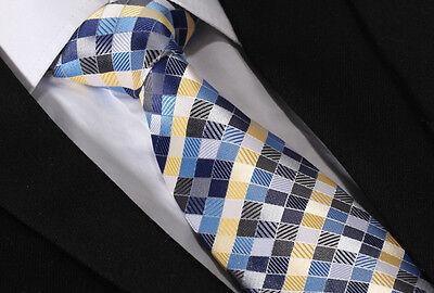 TC346B8 Blue Yellow Check Silk Classic Wedding Jacquard Men Neckties tie