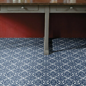 Vinyl Flooring Blue Victorian Tile Kitchen Bathroom Felt ...