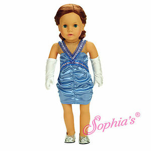 Sophia-039-s-PERIWINKLE-SATIN-RUCHED-DRESS-amp-GLOVES-for-18-034-American-Girl-Dolls-2pc