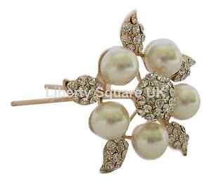 Grande Perle Et Cristal Fleur Nuptiale Pin Cheveux Accessoires Cheveux Mariage / N ° 255-afficher Le Titre D'origine