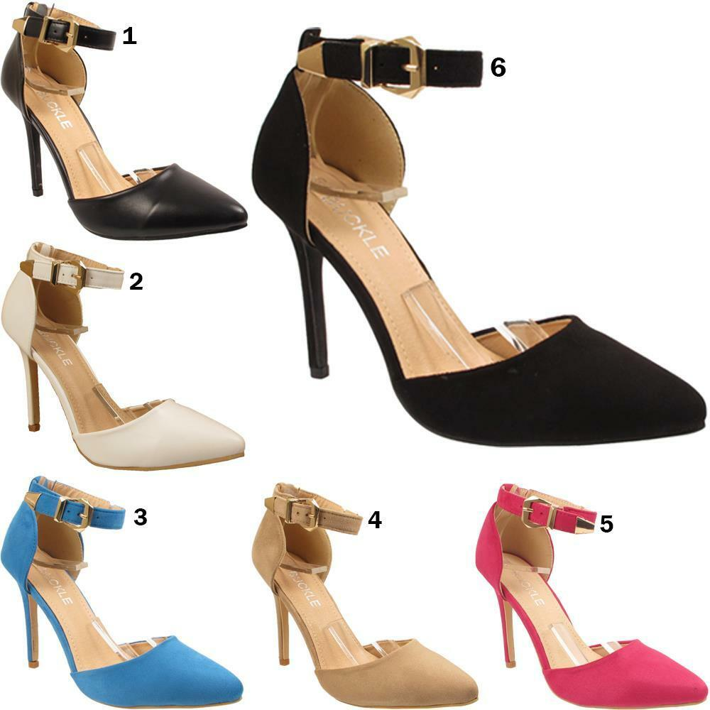 New Womens Ladies Ankle Strap Party Dress Stiletto Heel Sandals Shoes Sizes 3-8