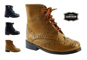 Ninos-CHICOS-NINOS-Autentico-Cuero-Negro-Bronceado-lazada-Chelsea-Distribuidor-Botas-Zapatos-Talla