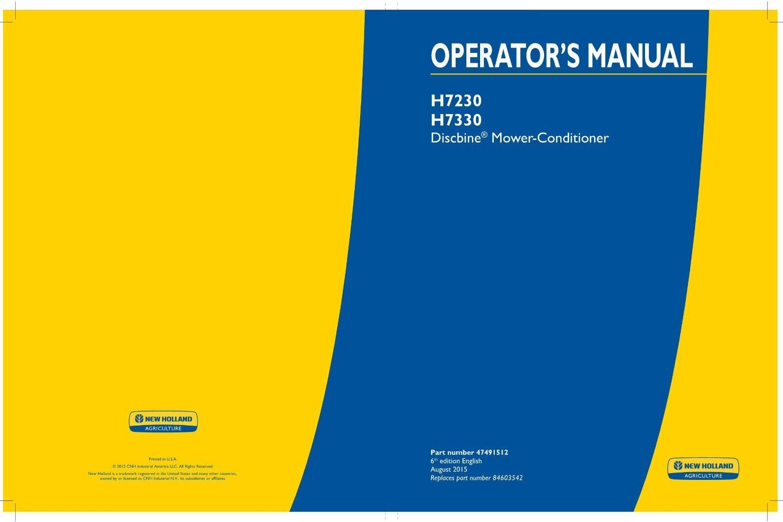 Holland H7230 & H7330 Discbine Mower-conditioner Operators Manual CD