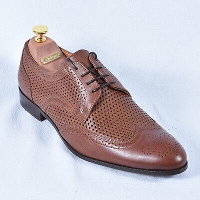 Herren Schuhe Braun Budapester Cognac Business Neu Leder 41 42 43
