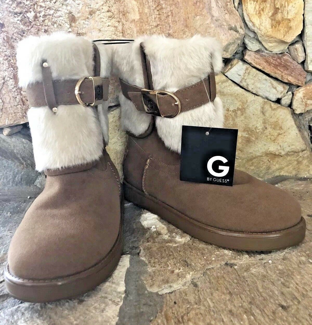 G By Guess Boots Women Alixa Faux Fur Lined Ankle Snow Weather Brown women  5.5