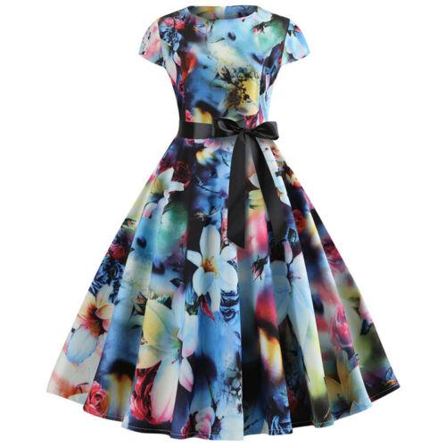 Womens Vintage Rockabilly Hepburn Floral Short Sleeve Party Swing Skater Dress