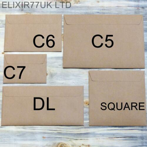 C5 C6 C7 DL KRAFT BROWN ENVELOPES 4 PAPER A4 A5 CARDS WEDDING CRAFT MAKING SMALL