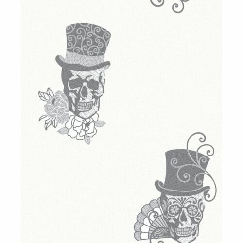 Rasch Sugar Skull Pattern Wallpaper Rose Flower Motif Metallic Glitter 308914