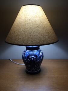 Image Is Loading Pair Of Talavera Table Lamps Blue And White