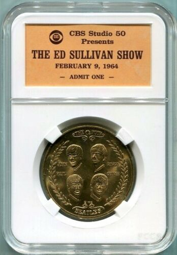 55th  Anniversary Show Envelope 1964 Beatles Coin in Ed Sullivan Show Case