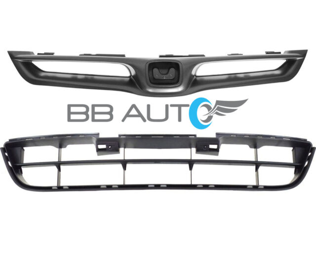 NEW 2pc FRONT BUMPER UPPER & LOWER GRILLE SET FOR 06-07 ACCORD COUPE 2 DOOR ONLY