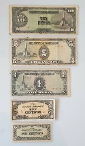 Vintage Japanese Government Sen & Pesos Notes 1943 WW2