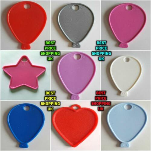5-100 COLOUR Balloon Shape Weight Plastic For Helium Foil Ballons Any Occasions.