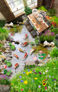 3D Garden Fish Pond 5 Floor WallPaper Murals Wall Print 5D AJ WALLPAPER UK Lemon