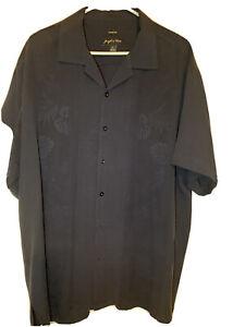 Mens-XL-Joseph-amp-Feiss-100-Silk-Hawaiian-Button-Up-Shirt-Short-Sleeve-Navy-EUC