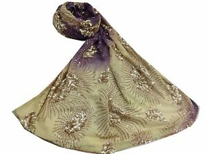 Om Vintage Dupatta Georgette Hand Embroidered Purple Stole Veil Scarves W-1742