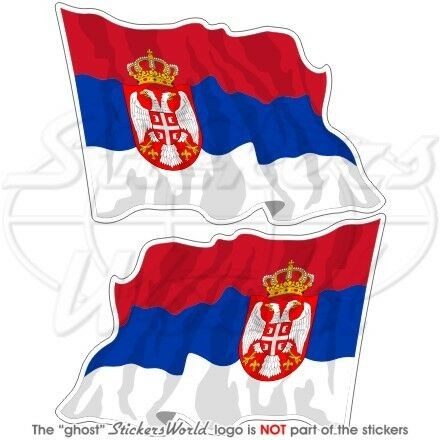 Serbe Drapeau Flottant Serbie Serbie 120mm Vinyle Sticker Autocollant x2