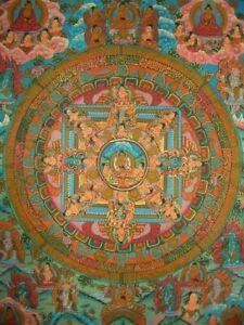 Farbenfrohes THANGKA Mandala + Buddha Nepal FEIN + VIEL GOLD 38x31 cm