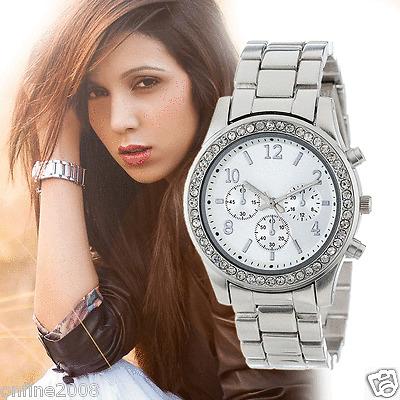 New Women's Luxury Analog Watches Stainless Steel Crystals Quartz Wrist watch