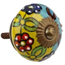 1113- Hand Painted 1-1/2 Round India Ceramic Cabinet Knob Yellow Blue, Green Red