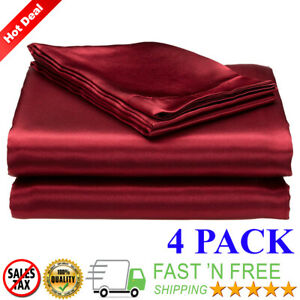 Satin-Sheets-Soft-Silk-Feel-Bedding-4pc-Set-Luxury-Bed-Linen-Burgundy-Queen-Size